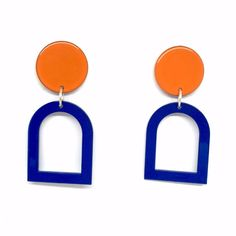 Bianca Mavrick - Window Earrings in Blue and Orange