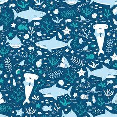 Happy Sharks fabric by innamoreva on Spoonflower - custom fabric