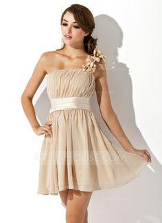 A-Line/Princess One-Shoulder Short/Mini Chiffon Charmeuse Homecoming Dress With Ruffle Flower(s) (022007272)