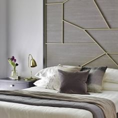 Bespoke Laser-cut Headboard, Master Bedroom | Portfolio | London Apartment V - love interiors, love, interiors, design, home, house, interiordesignideas, interior styling, interior style, ideas, inspiration, inso, inspohome, luxury, housegoals, velvet, brass, marble, luxurious, clean, newbuild, eclectic, style, styling, city, london, uk, england, bespoke, headboard, apartment, bedroom, master bedroom