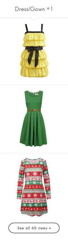 """""""Dress/Gown #1"""" by lgdalaten ❤ liked on Polyvore featuring dresses, vestidos, yellow, vestiti, arden b dresses, yellow cocktail dress, yellow dresses, louche dresses, green fitted dress and fitted dress"""