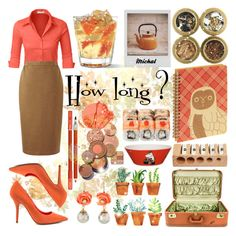 """""""How long ?"""" by michal100-15-4 ❤ liked on Polyvore featuring LE3NO, Uniqlo, Polaroid, Topshop, Lancôme, Arabia, ALDO, orange, rose and moomin"""