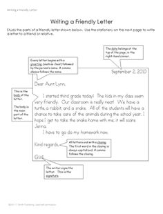 Friendly Letter Template  Language Arts Letter Writing Lesson
