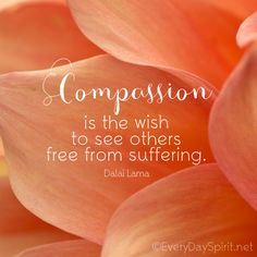Compassion is great love ~ #compassion #dalailama For the app of wallpapers ~ www.everydayspirit.net xo