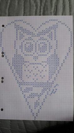 Crochet Heart Stitch Punto Croce Ideas For 2019 Filet Crochet, Crochet Chart, Crochet Doilies, Embroidery Hearts, Cross Stitch Embroidery, Embroidery Patterns, Knitting Patterns, Crochet Patterns, Cross Stitch Owl