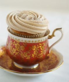 fun ~ serve cup cake in cup and saucer
