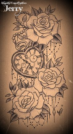 heart shaped pocket watch and roses tattoo design. 3:15 for miel