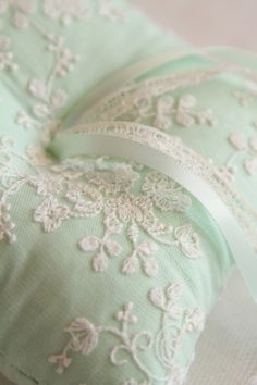 Ring Bearer& Pillow In mint green with embroidery ribbons and lace. Mint Aesthetic, Wedding Mint Green, Mint Creams, Ring Pillows, Ring Pillow Wedding, Rings For Girls, Mint Color, Ring Bearer, Shades Of Green