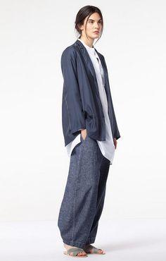 Cotton/linen denim-look trousers at OSKA New York.
