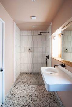 I've taken my floor inspiration from Bradley VanDerStraeten's bathroom design in a Leytonstone House led by Claire Holton. Bathroom Layout, Modern Bathroom Design, Bathroom Interior Design, Bathroom Ideas, Bathroom Organization, Minimal Bathroom, Tile Layout, Bathroom Designs, Bathroom Storage