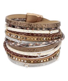 Saachi Bronze Selena Leather Wrap Bracelet   zulily . $24.99 $56.00 . Product Description: This layered bracelet dons dozens of crystals that add shimmering style to your ensemble. 0.5'' W x 15'' L . Magnetic closure . Leather / metal alloy / glass . Imported