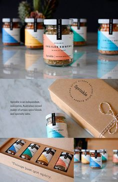 Nick Edlin worked with the people at Sprinkle to design a brand identity and packaging for their new spice business. There's quite a large range of products, so Spices Packaging, Honey Packaging, Bakery Packaging, Cookie Packaging, Food Packaging Design, Bottle Packaging, Packaging Design Inspiration, Brand Packaging, Jam Label
