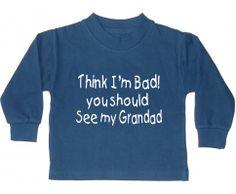 Edward Sinclair Boy THINK I'M BAD YOU SHOULD SEE MY GRANDAD Navy Blue Sweatshirt