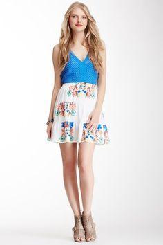 Floral Tiered Silk Skirt