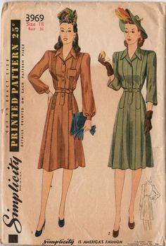 Vintage 1940s Simplicity Sewing Pattern 3969 Women's Long Sleeve Dress Bust 36 Hip 39