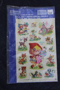 Vintage Decalart Water Decal, Little Red Riding Hood, Deer, Fox, Bunnies, Gingerbread House, Hansel and Gretal, Kitsch