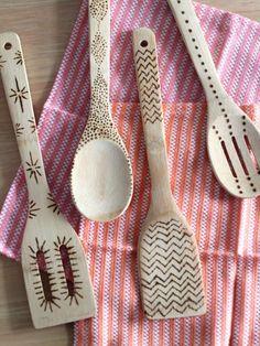 Graphic pattern wood burned kitchen utensils