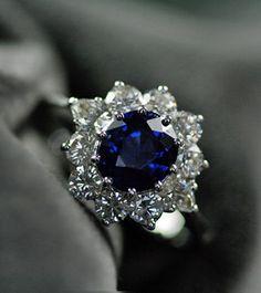 Sapphire & Diamond Vintage Cluster Engagement Ring