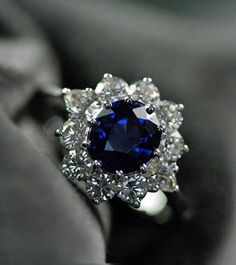 Sapphire & Diamond Vintage Cluster Engagement Ring