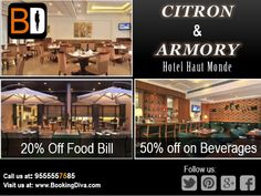 Citron and Armory @ Hotel Haut Monde promises you a lavish #Dinner offering a wide variety of Cuisines and Beverages. Fits best for Business Meets or Romantic Nights Contact us at : 9555557585 or visit us at www.bookingdiva.com #BookingDiva