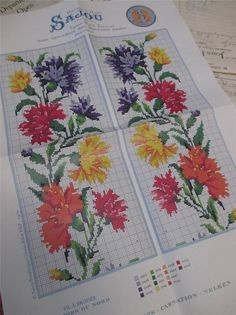 Sajou Berlin Woolwork Chart Cross Stitch Petit Point Carnations | eBay