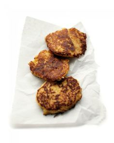 Mashed-Potato Pancakes  Mashed-potato pancakes, crisp on the outside and tender within, are a great way to use up leftover mashed potatoes.