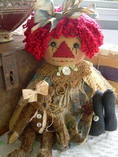 Primitive Prim Folk Art Raggedy Ann Doll w Bear Molly Must See | eBay