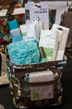 Thirty-One Littles Carry All Ideas ($12) make a little pampering basket. Include a nail file also from thirty one.