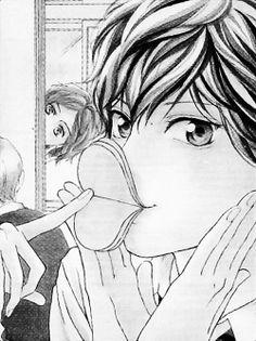 Ao Haru Ride - Kou I'm dying! Can't imagine him doing smth like this; maybe only after he began to date Futaba. But he's so kawaii 😍 Manga Boy, Anime Manga, Ao Haru Ride Anime, Me Me Me Anime, Anime Guys, Vocaloid, Tanaka Kou, Futaba Y Kou, Manhwa