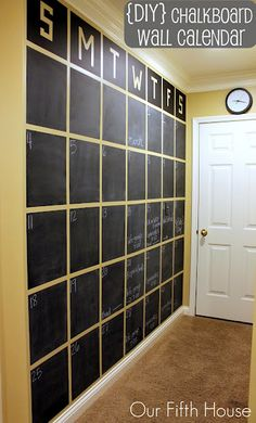 A Wall Sized Chalkboard DIY Calendar - or full chalkboard wall. Very thorough tutorial on how to make this giant calendar. Fyi - it took 3 coats of chalkboard paint. Chalkboard Wall Calendars, Chalkboard Paint, Calendar Wall, Chalkboard Ideas, Family Calendar, Magnetic Chalkboard, Large Chalkboard, Blackboard Wall, Calendar Ideas