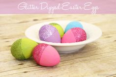 Glitter Dipped Easter Eggs - A mix of new and traditional, this Easter craft will light up your holiday table.