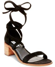 Steve Madden Women's Rizza Lace-Up Block-Heel Sandals - Black 6.5M
