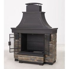 Shop for Sunjoy Japer Steel and Faux Stack Stone Outdoor Fireplace. Get free delivery On EVERYTHING* Overstock - Your Online Garden & Patio Outlet Store! Get in rewards with Club O! Outdoor Living Areas, Outdoor Spaces, Living Spaces, Home Fashion, Backyard Renovations, Outdoor Fireplaces, Backyard Fireplace, Brick Fireplace, Fireplace Ideas