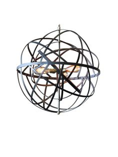 Chandi :: Spin Pendant – Features a raw steel frame • Three reproduction Edison light bulbs produce a warm orange glow • The two concentric spheres give the illusion of movement • Measures 17 inches in diameter