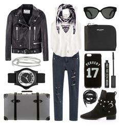 """""""#Street Style: Airport Style"""" by sandycyh ❤ liked on Polyvore featuring Acne Studios, J.Crew, Globe-Trotter, See by Chloé, Yves Saint Laurent, Linda Farrow, Kenneth Jay Lane, Urbanears, Givenchy and Marc by Marc Jacobs"""