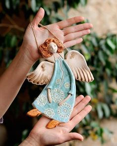 - Guardian Angel Clay Sculpture Ceramic art Wall Decoration Little Gift Romantic Style Rustic home decor Colored figurine Ornament angel Ceramic Angel sculpture Clay miniature sculpture Angel Gift