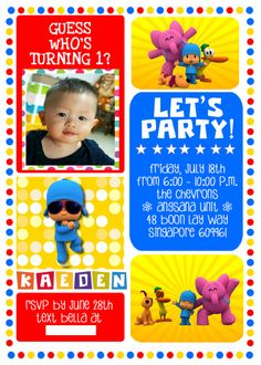 Customised Pocoyo Theme Birthday Invite for baby Kaeden