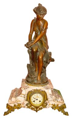 French Figural and Marble Mantel Clock, ca. 1890-1900, surmounted by statue cast by Alfred Jean Foretay (Swiss, 1861-1944)