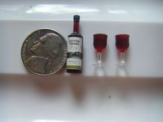 Miniature 112 Scale Bottle of Wine with Two by ItsyBitsyOldStuff, $2.00