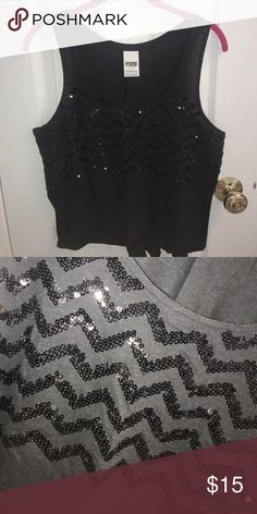 Selling this Black chevron sequin tank top on Poshmark! My username is: hanniee1818. #shopmycloset #poshmark #fashion #shopping #style #forsale #PINK Victoria's Secret #Tops