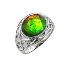 Buy Sterling Silver Oval Ammolite Ring, Ammolite Gemsand Rings from The Shopping Channel, Canada's home shopping network-Online Shopping for Canadians
