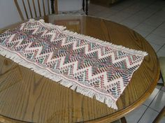 Natural Swedish Weave Table Runner by NeenersWeaving on Etsy