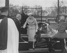 Queen Elizabeth II and Prince Philip, Duke of Edinburgh step out of the royal car as they arrive at Christ Church to attend a memorial service in Ottawa, during a State visit to Canada on October 15th 1957.