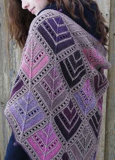 Free Knitting Pattern for Mitered Eyelet Shawl - This shawl is created from mitered diamonds in long self-striping or multi-colored yarn. Designed by by Gail Tanquary & Angie Kachelmeier. Pictured project by SvetlanaTomina