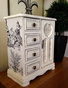 Vintage Wood Jewelry Box Hand Painted and Decoupaged in French Theme by ColorfulHomeDesigns on Etsy