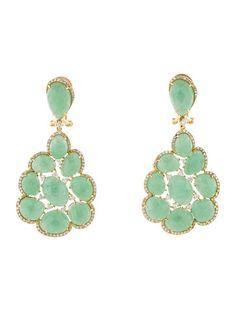 Aventurine Quartz and Diamond Earrings