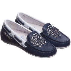 ROBERTO CAVALLI Boys Navy Blue Leather Driving Shoes