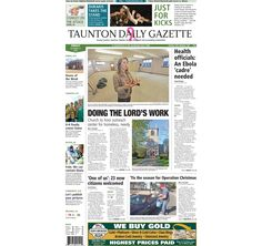 The front page of the Taunton Daily Gazette for Friday, Oct. 17, 2014.