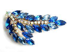 Juliana Blue Molded Glass Brooch Rhinestone by JewelryQuestDesign, $52.99