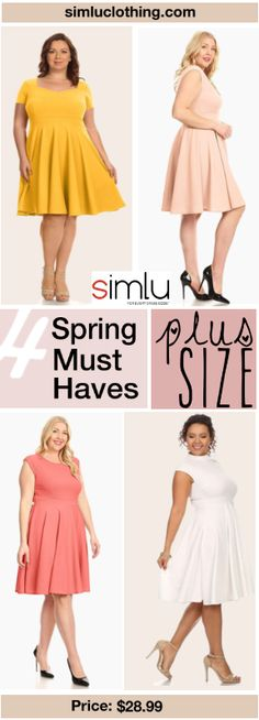 Womens Knit Fit and Flare Crew Neck Pleated Bottom Plus Size Dress - Made in USA  #simlu #clothing #plussize #dress #spring Shop now!